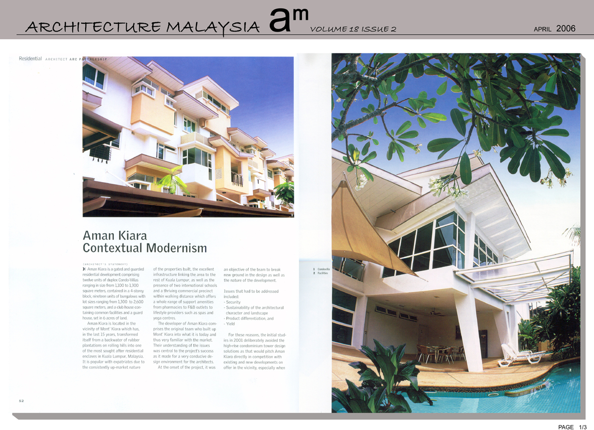 Press, Architecture Malaysia, April 2006, Aman Kiara 1